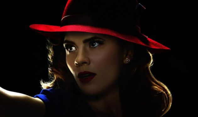 Hayley Atwell as Agent Carter blue dress with red hat