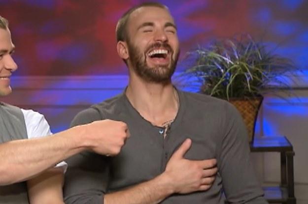 Chris Evans laughing left boob grab