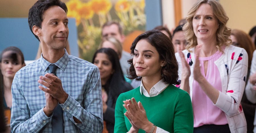 Danny Pudi and Vanessa Hudgens in NBC's Powerless