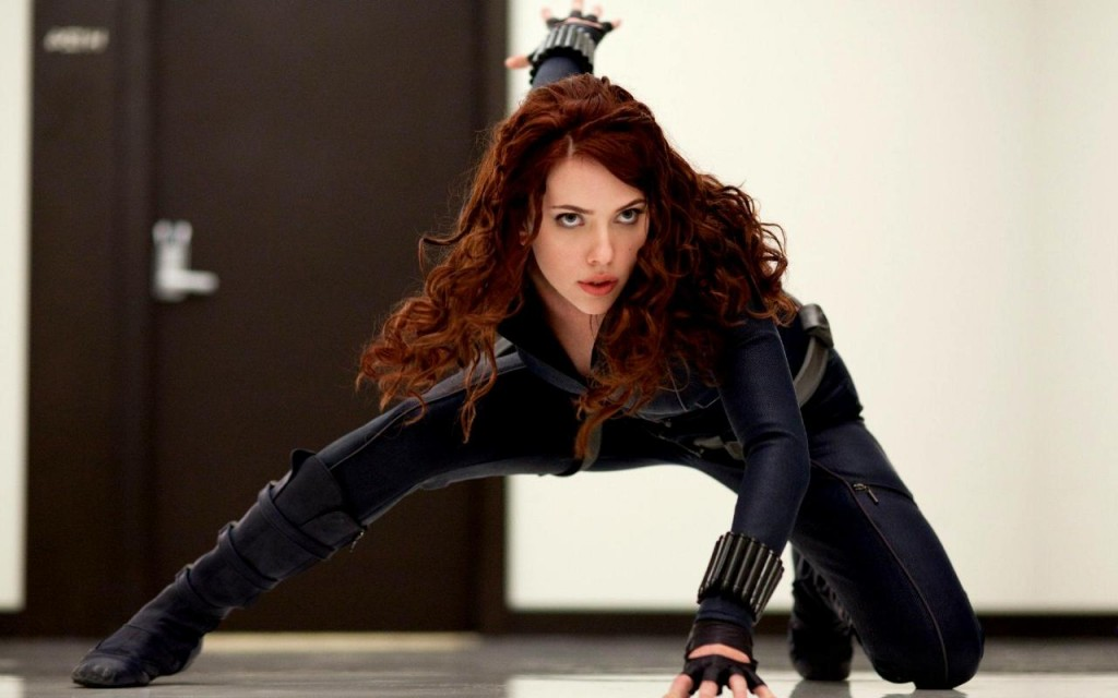 Scarlett Johansson Black Widow long hair Iron Man 2 crouching