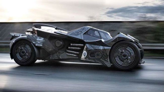team-galag-batmobile in motion side shot