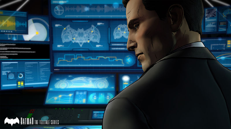 Bruce Wayne in Telltale's Batman with batcomputer