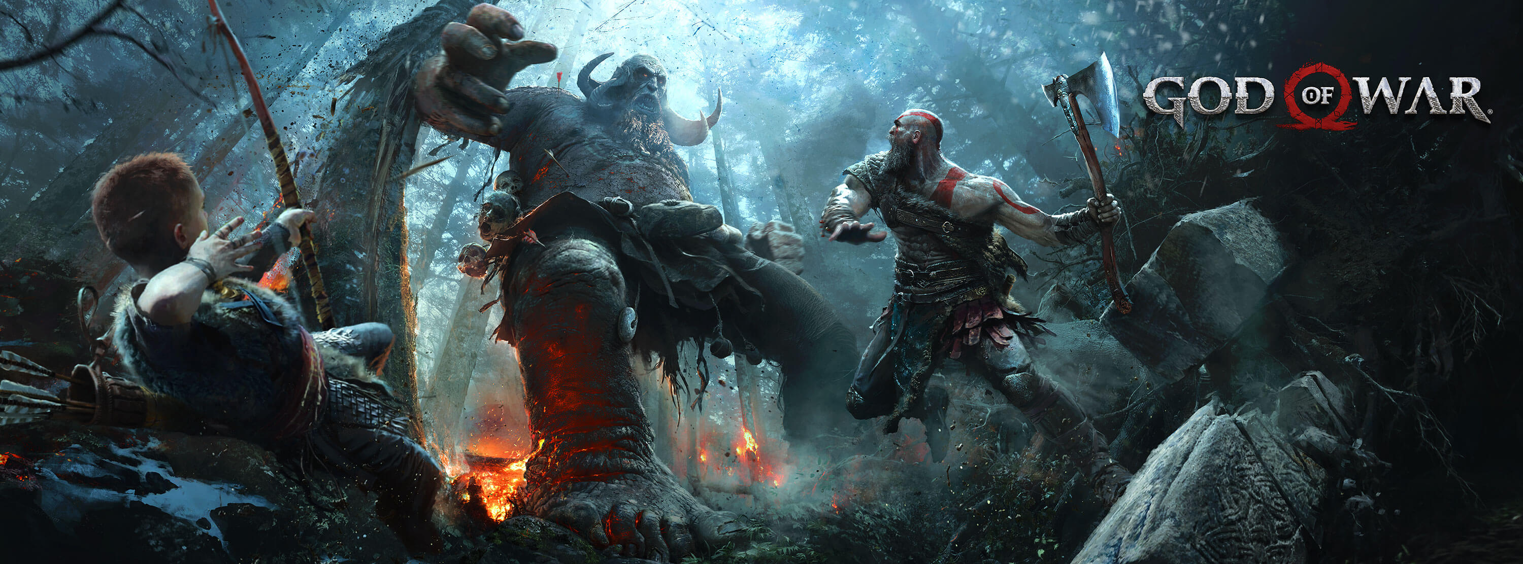 God of War key art kratos son and giant