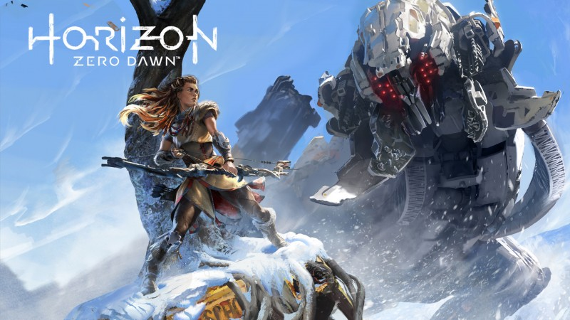 Horizon Zero Dawn art Aloy giant robot
