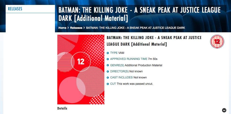 Justice League Dark Listing for Batman The Killing Joke