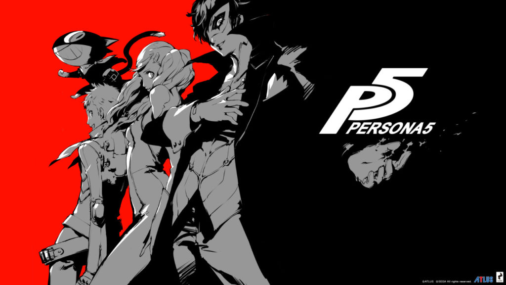 Persona 5 characters art red, black, and gray