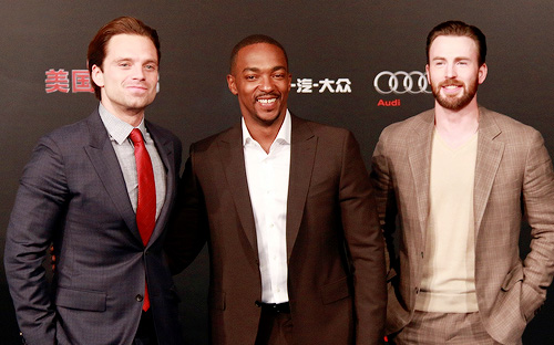 Sebastian Stan with Anthony Mackie and Chris Evans at Captain America Civil War premiere Singapore