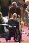 Hugh Jackman and Patrick Stewart on set of Wolverine 3