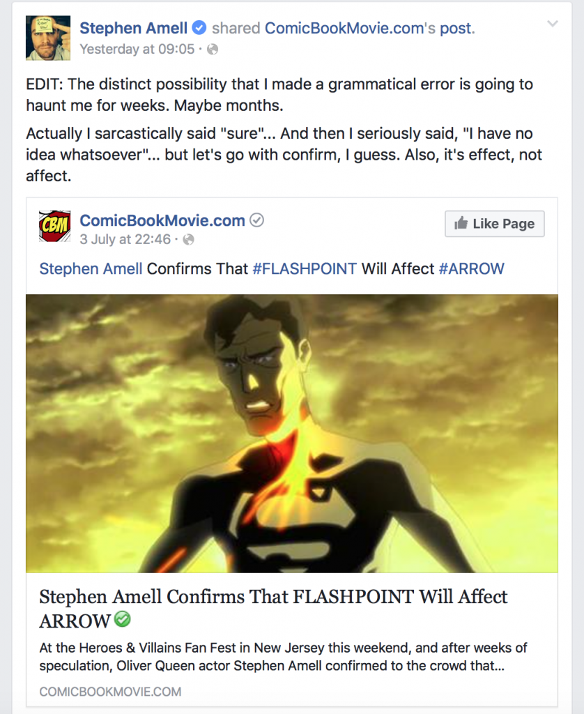 stephen amell flashpoint, facebook