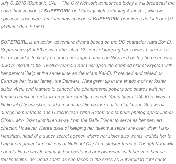 The CW Supergirl Season 1 announcement