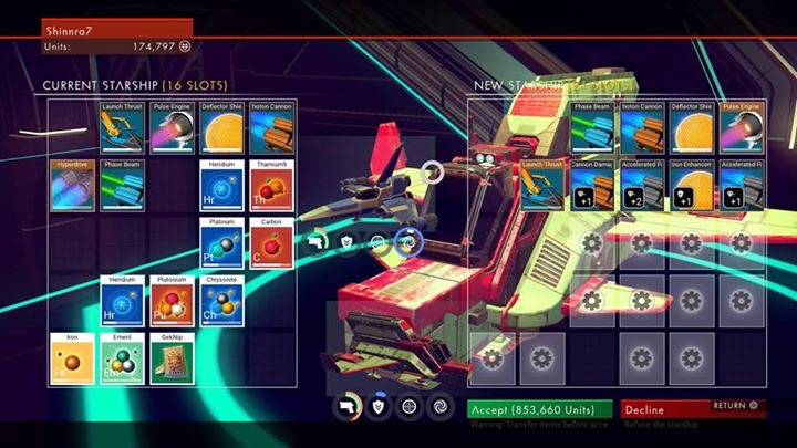 no mans sky equipment, no mans sky inventory screen, no mans sky review