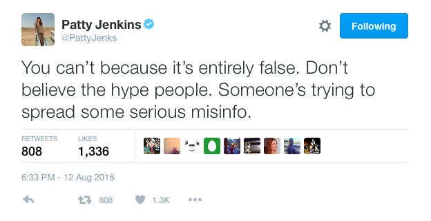 Patty Jenkins addresses Wonder Woman rumor 2