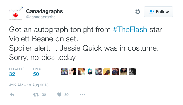 Canadagraphs Tweet on Jesse Quick costume
