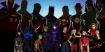 Young Justice with Justice League in shadows