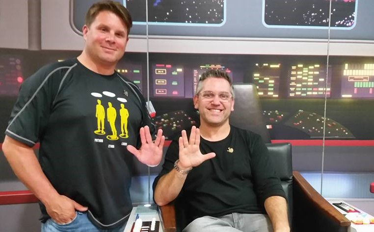 Rod Roddenberry and Trevor Roth of Roddenberry Entertainment in the Captain's Chair! Photo Credit: John K. Kirk