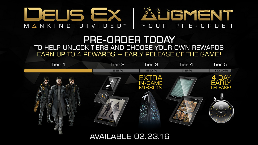 Deus Ex Mankind Divided Square Enix's augment your preorder campaign