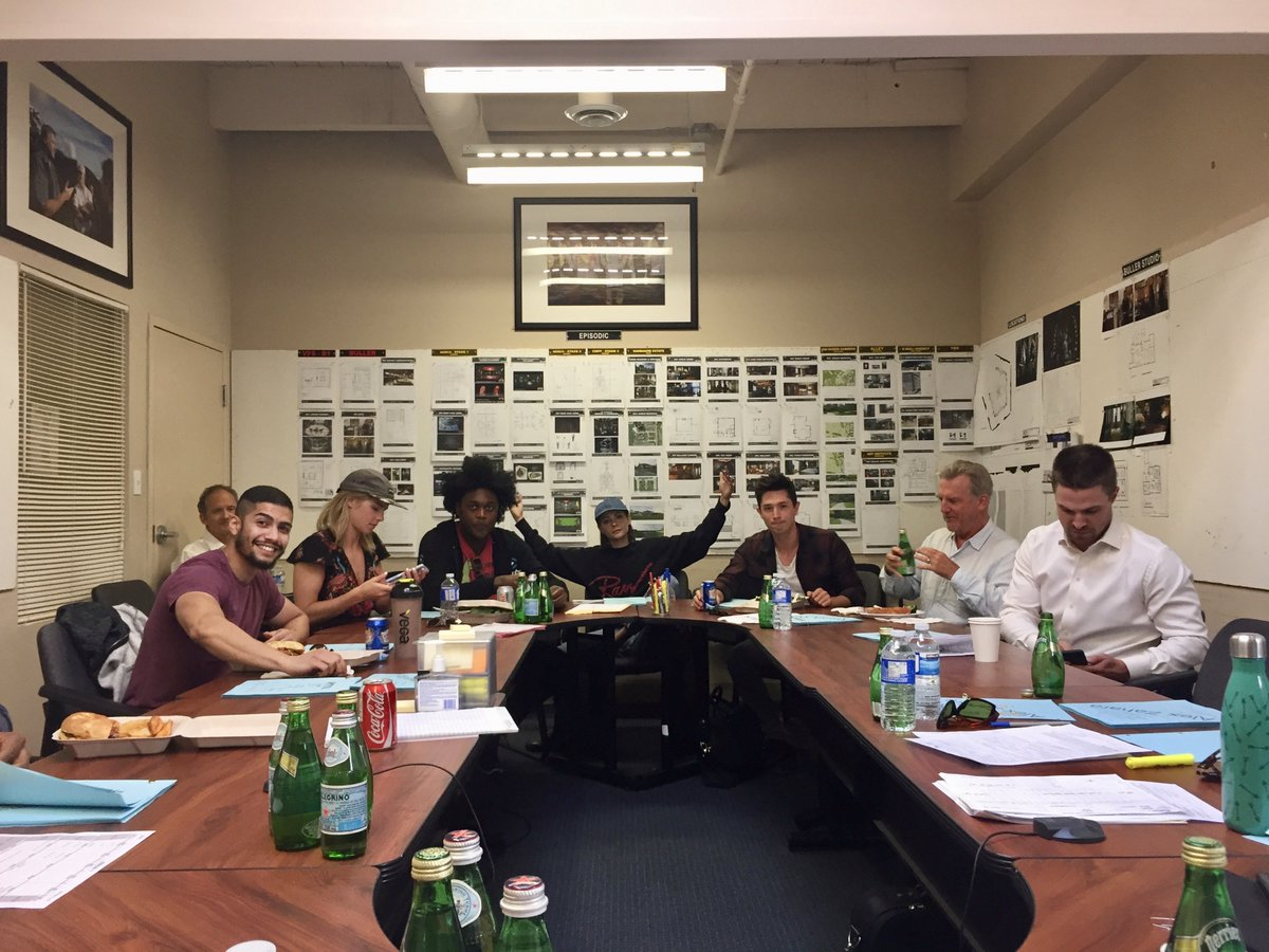 Jamey Sheridan at a table read for Arrow as Robert Queen