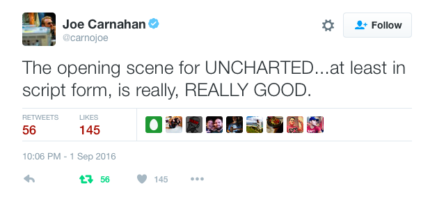 Joe Carnahan tweets about Uncharted opening