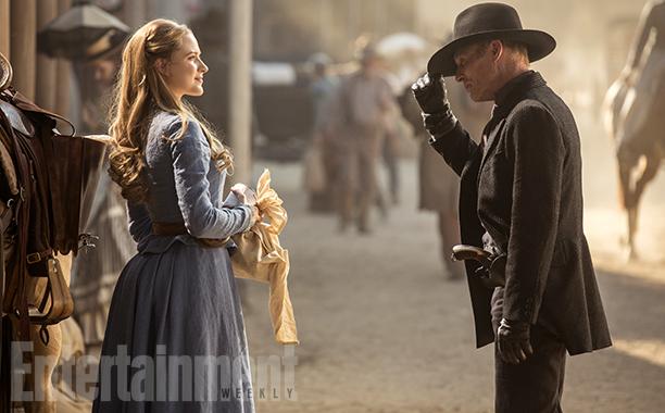 Westworld Season 1, Episode 1 Air Date 10/2/16 Pictured: Evan Rachel Wood as Dolores Abernathy, Ed Harris as The Man in Black