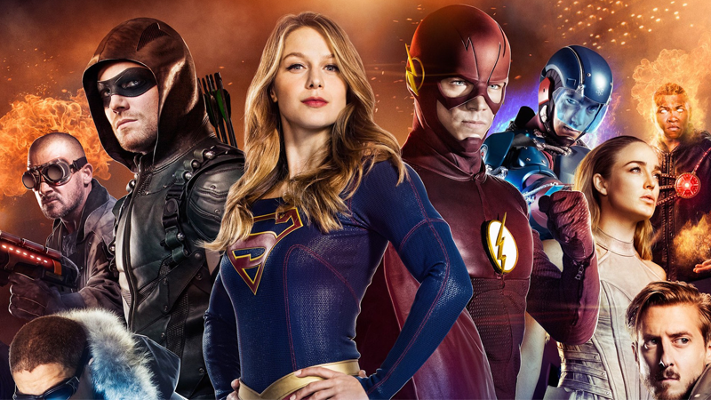 The Flash and Supergirl Join Team Arrow in BTS Image