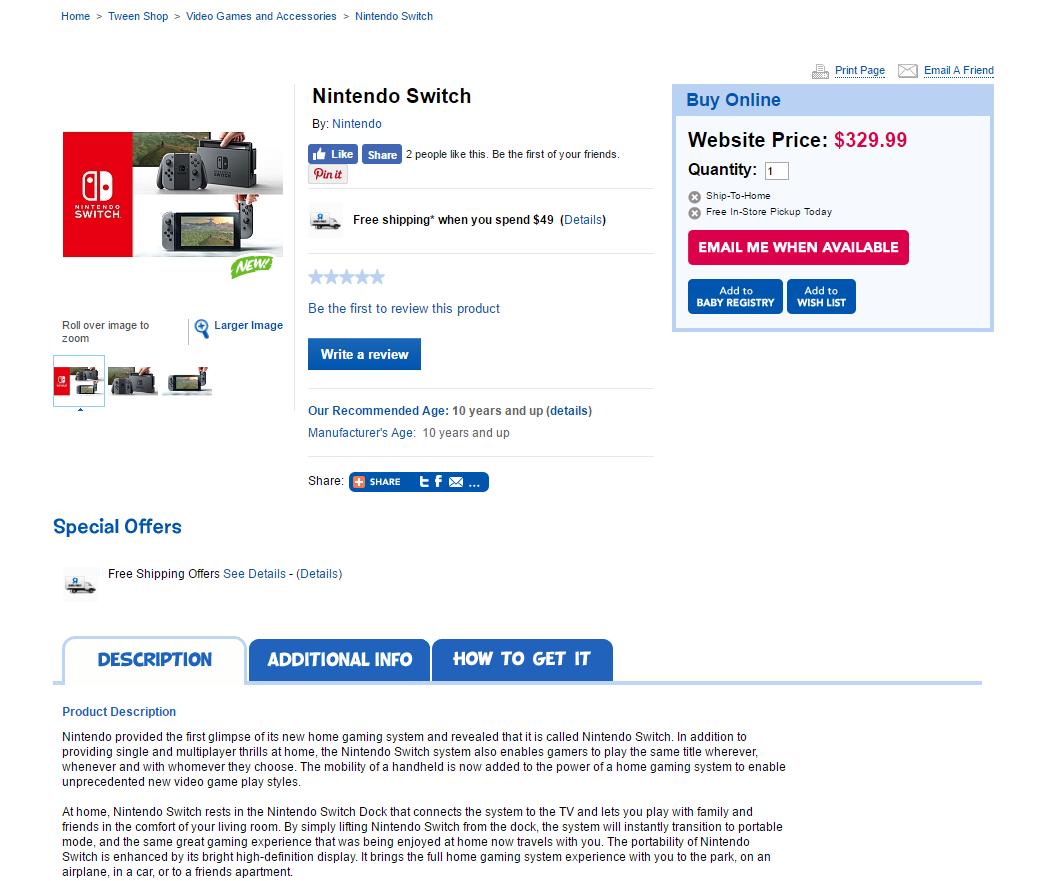 toys r us alleged nintendo switch price leak