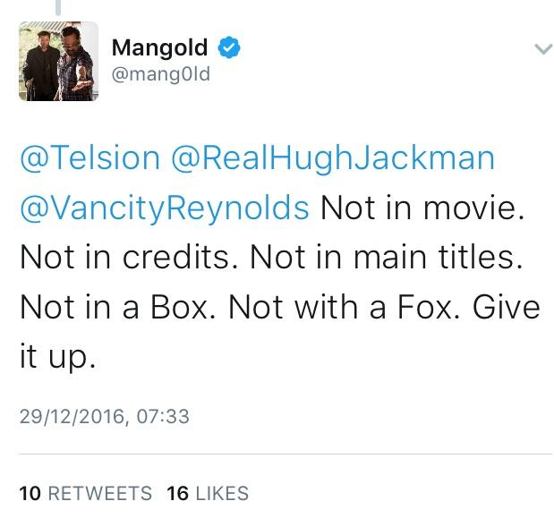 James Mangold Tweet