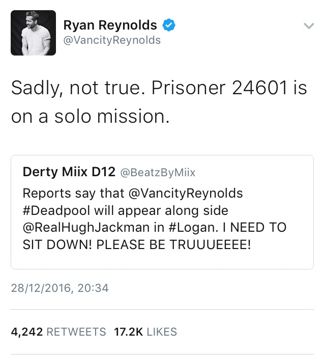 Ryan Reynolds Tweet