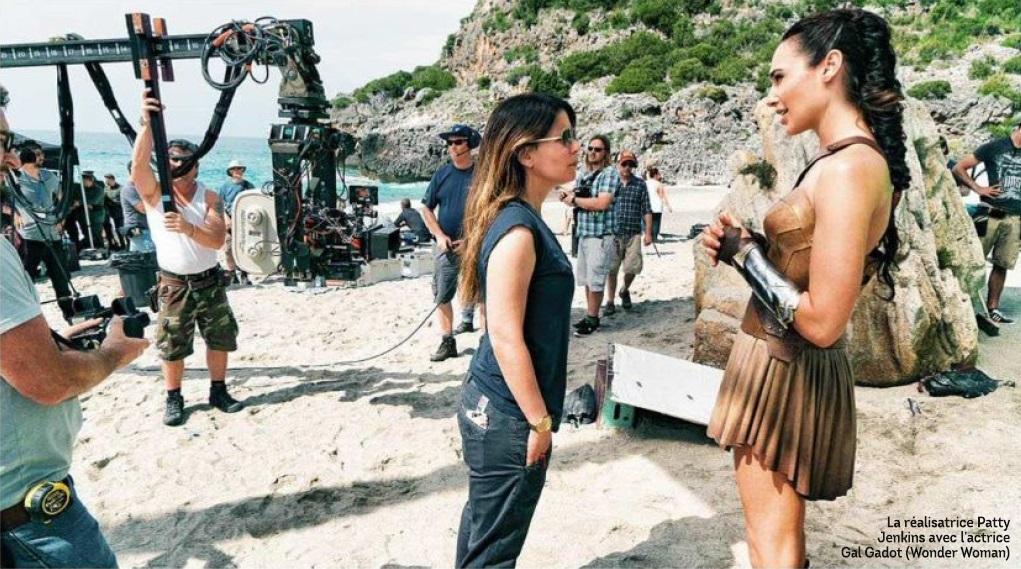 Patty Jenkins and Gal Gadot Wonder Woman set