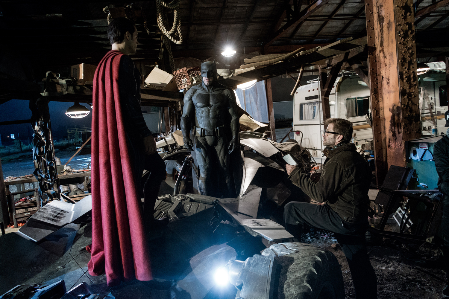 Henry Cavill, Ben Affleck, and Zack Snyder BvS set