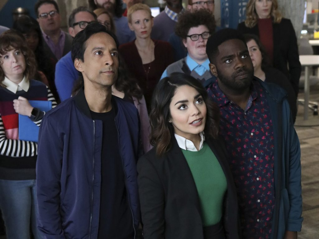 powerless, vanessa hudgens, danny pudi, ron funches, emily, teddy, ron, dc, comedy