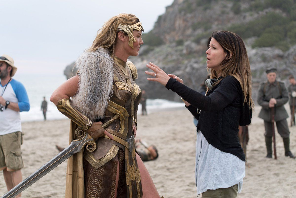 Connie Nielsen and Patty Jenkins on Wonder Woman Set